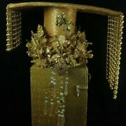 16 Collect Antique China Canvas 24 K Gold Wire Inlay Gem Queen Hat Crown Statue