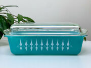 Rare Find Agee Pyrex 'turquoise With White Spears' Aka Oblong Casserole