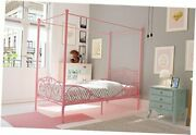 Metal Canopy Bed With Sturdy Bed Frame - Size Twin Pink