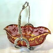 1899 Victorian Wm A. Rogers Bride Basket-eapg Ruby Delaware Rose And Gold Bowl