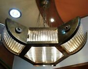 Vintage Art Deco Hanging Ship Brass And Glass Rod Ceiling 6 Light Chandelier Lamp