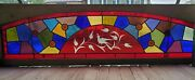 Victorian Arch Stained Glass Window With Wheel Cut Bird