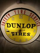 Vintage Dunlop Tire Service Wall Clock Lighted Safety Tire Service Works