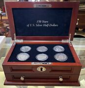 150 Years Of U.s. Silver Half Dollars 6 Coin Set In New Cherry Wood Chest W /key