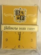 Vintage Biltmore Dairy Farms Clock And Light Wall Mount Or Ceiling Hang