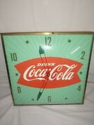 Vintage Coca Cola Green Fishtail Pam Clock Works