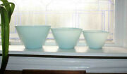 3 Mid Century Fire King Turquoise Glass Nesting Mixing Bowls Oven Ware
