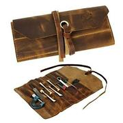 Leather Tool Roll Up Pouch - Leather Tool Wrench Roll / Chisel Bag By