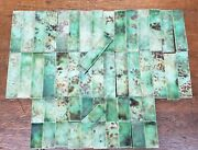 Set Of 52 Green And Brown Swirl Fireplace Tiles