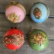 Vintage Western Germany Wax Christmas Tree Green Red Blue Pink Ornaments