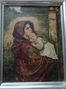 Antique Oil Painting Madonna And Child, La Madonnina On Wood Panel. Signed