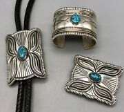 Stylish Three Piece Bolo Tie Buckle And Bracelet Set With Webbed Turquoise