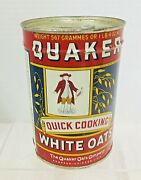 Vintage Tin Quaker Compressed Quick Cooking White Oats 20 Oz 3.5x7 Inches