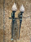 Antique Art Deco Brass Wall Torch Sconces Flame Globes Kennedy Mansion Pair