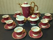 Vintage Red Floral And Gold Trim Old Ivory Syracuse China O.p.c.o. Tea Set.