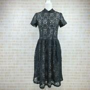 Used Comme Des Garcons Gingham Check Mesh Cutwork See Through Long Dress Xs Size