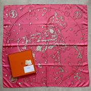 Hermes Scarf Stole Carre 90 Cheval Fusion Horse Pink Silk Silver From Japan New