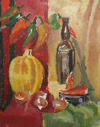 Vintage Expressionist Oil Painting Still Life With Peppers, Pumpkin And Bottle