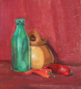 Vintage Gouache Painting Impressionist Still Life Bottle, Peppers And Basket