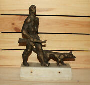 Vintage Expressionist Hand Made Bronze Statuette Border Patrol Soldier And Dog