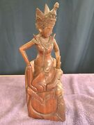 Vintage Indonesia Mas Bali Wood Carving Crowned Female By Meli 12.5 Tall