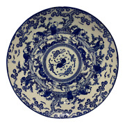Antique Japanese Arita Transferware Blue And White Porcelain Charger Plate 12