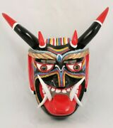 Wood Devil Dance Mask Red Tip Horns By Felipe Horta Collectible Signed