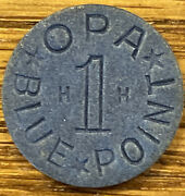 Blue Opa One Point Token Letters Hh World War Two Wwii Ration Rare 2 Letters Rc