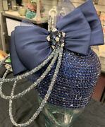 Whittall And Shon Designer Hat Shiny Blue With Blue Bow Center Medallion Nwt