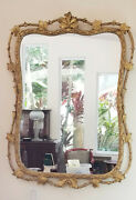 Large Vintage C.1940and039s Hollywood Regency Gilt Oak Leaf Branches Mirror 31and039 X 42