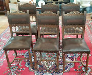 6 Pcs Antique 19c. Henry Ii Renaissance French Tooled Leather Carved Wood Chair