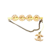 Rare Vintage Paris France Costume Logo Pearl Pin Brooch Fall Collection
