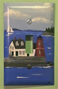 Rockland Breakwater Lighthouse Maine Handpainted Single Toggle Switchplate Cover