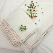Handmade Christmas Embroidered Cotton 66 X 100 Tablecloth And 11 Napkins Stains
