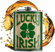 Lucky And Irish - Vintage 8oz Flasks For Liquor For Men - Stainless Steel Flask...