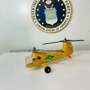 Vintage Metal Hubley Kiddie Toy Yellow Forest Ranger Helicopter Made In The Usa