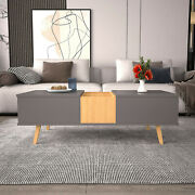 Coffee Table Lifting Table Topthree Compartments Storage 4 Solid Wooden Legs