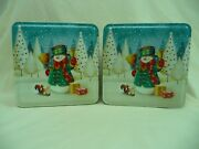 Lot Of 2 Square Decorative Metal Tins Decorated With Snowman