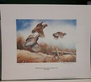 1982 Quail Conservation Stamp And Print By Allen Hughes 405