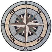 Md174 59.06 Compass Pattern Mosaic Medallion Tile