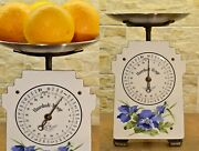 Old White Vintage Restored German Family Kitchen Scale With Flowers