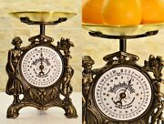Old Vintage Restored German Family Kitchen Scale With Girl And Flower