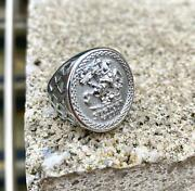 Silver St George Coin Mens Ring Sovereign Ring Silver Signet Ring For Men Large