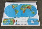Vintage 70s Pull Down Wall World Map Rand Mcnally -home School Shade Neat