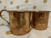 Vintage Pair Of Corvette And Cadillac Cars Racing Logo Moscow Mule Copper Mugs Cup
