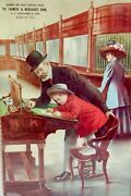 Vintage Antique 1910-1920 Farmers Bank Advertising Lithograph Sign Very Nice
