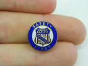 Vtg Union Pacific Railroad Overland Route Uprr Safety First Enamel Lapel Button