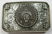 Rare Edward H Bohlin 925 Sterling Silver Chief Red Wolf Belt Buckle Item 28331k