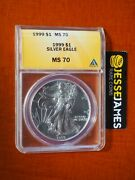1999 1 American Silver Eagle Anacs Ms70 Gold Label Key Date