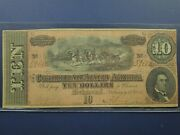 1864 10 Ten Dollar Confederate Csa Richmond Paper Currency Note